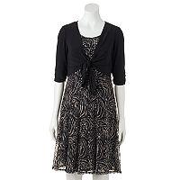 Women's Perceptions Print Lace Dress & Shrug Set