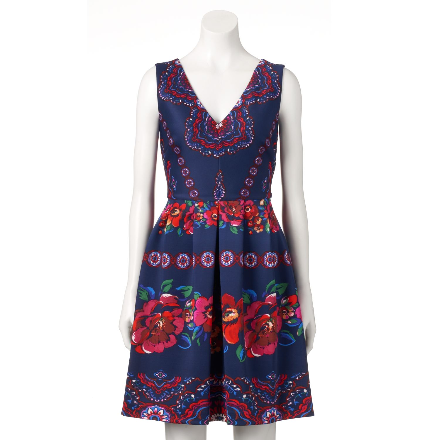 Womens Chaya Pleated Floral Fit & Flare Dress