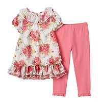 Baby Girl Nannette Floral Lace Tunic & Leggings Set