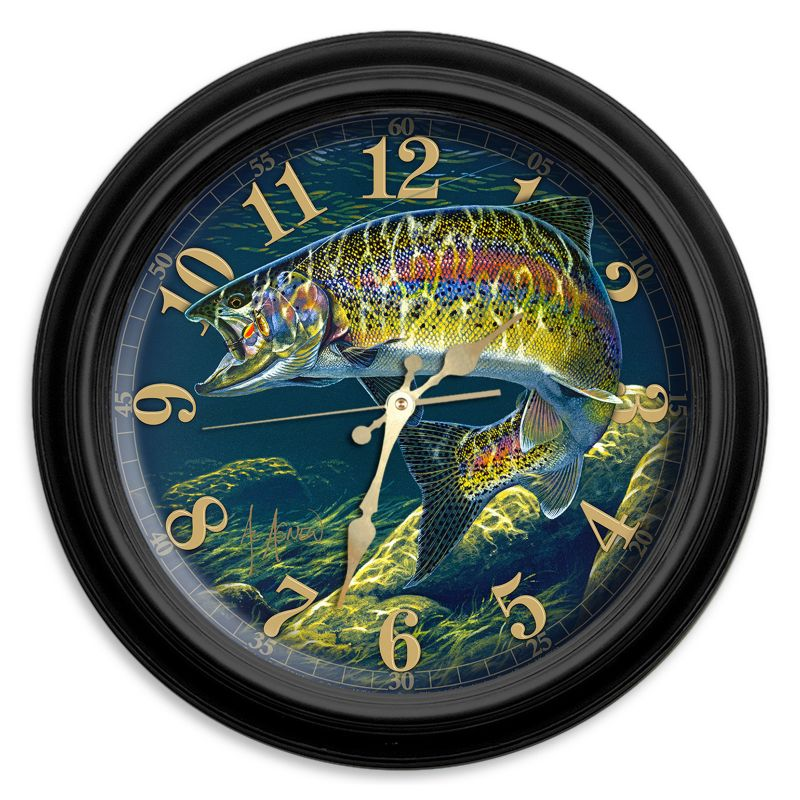 Reflective Art Trout & Spinner Wall Clock, Multicolor