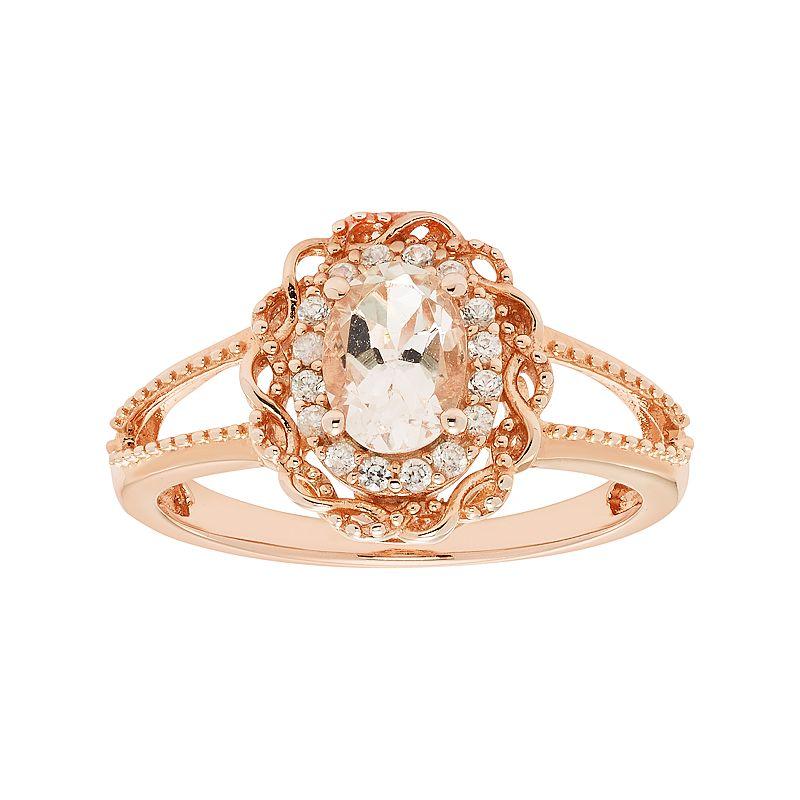 14k Rose Gold Over Silver Morganite & White Zircon Scalloped Oval Halo Ring