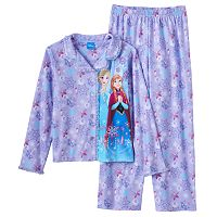 Disney's Frozen Elsa & Anna Girls 4-12 Glitter Button-Front Pajama Set
