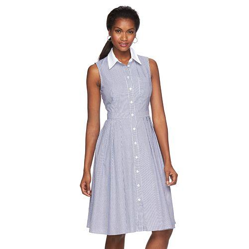 Womens Jessica Howard Pleated Pinstripe Shirtdress