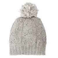 Women's SIJJL Wool Cable-Knit Pom-Pom Beanie