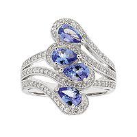 Sterling Silver Tanzanite & White Zircon Ring