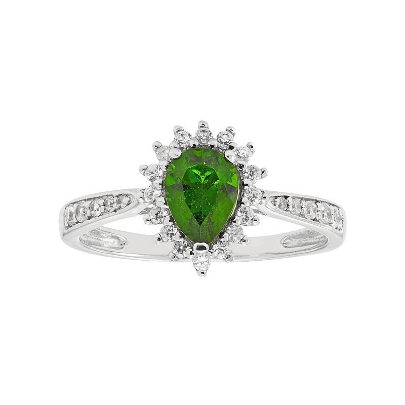 Sterling Silver Chrome Diopside & White Zircon Pear Halo Ring