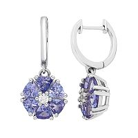 Sterling Silver Tanzanite & White Zircon Flower Drop Earrings