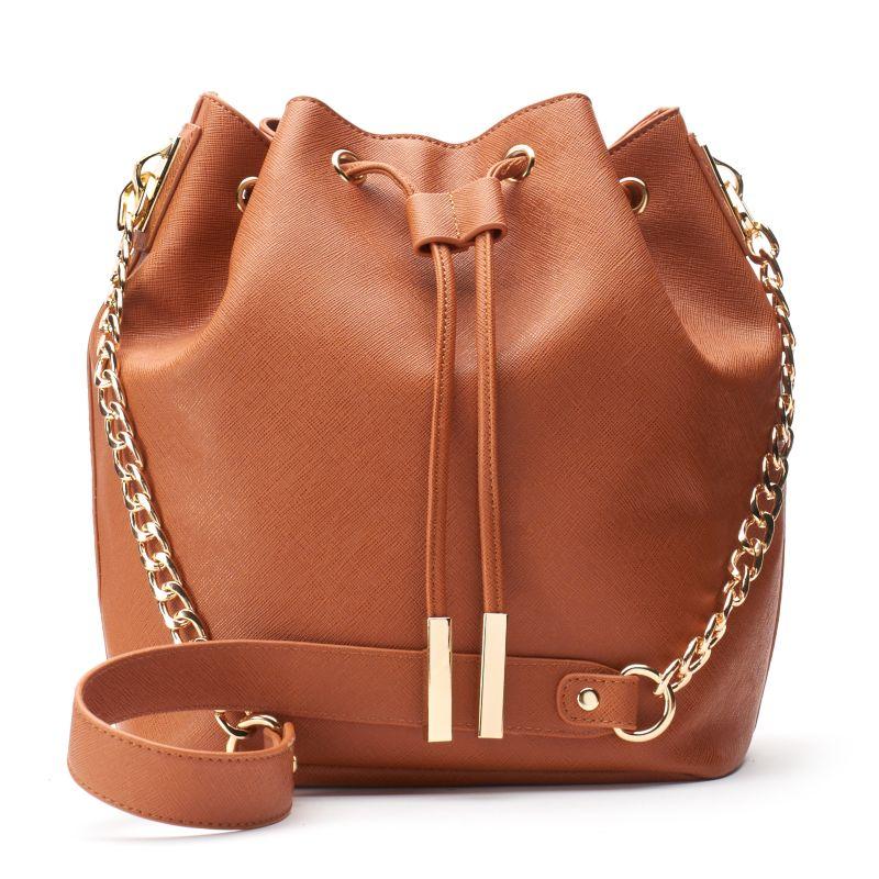 InStyle Drawstring Bucket Bag, Women's, Brown