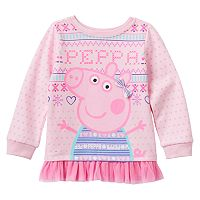 Toddler Girl Peppa Pig Fairisle Tulle Hem Fleece-Lined Tee