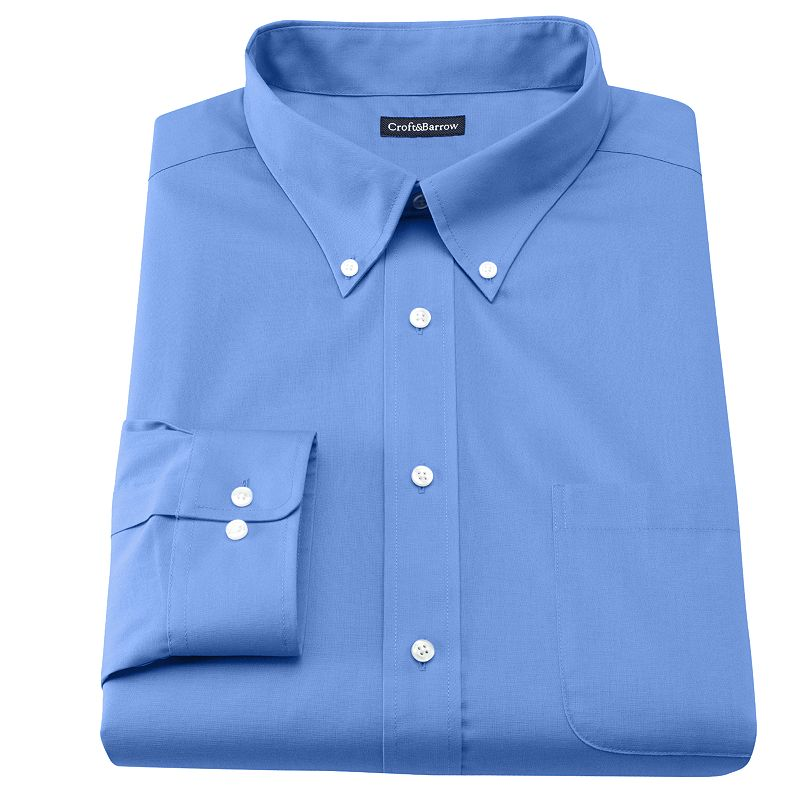 Men's Croft & Barrow® Slim-Fit Solid Broadcloth Button-Down Collar Dress Shirt