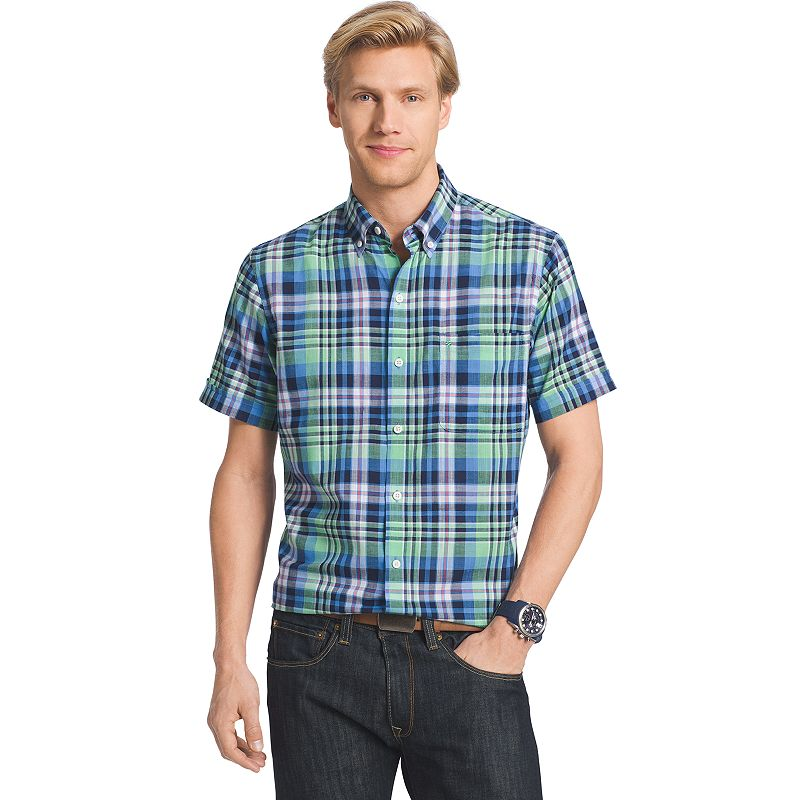 Men's IZOD Dockside Plaid Chambray Woven Button-Down Shirt