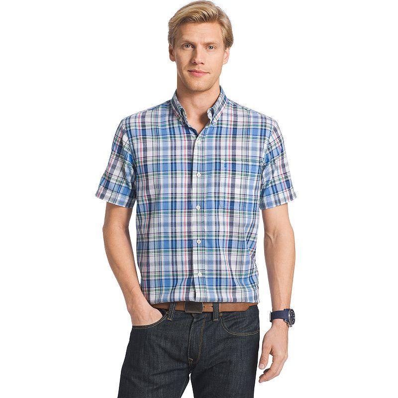 Men's IZOD Dockside Plaid Chambray Woven Button-Down Shirt