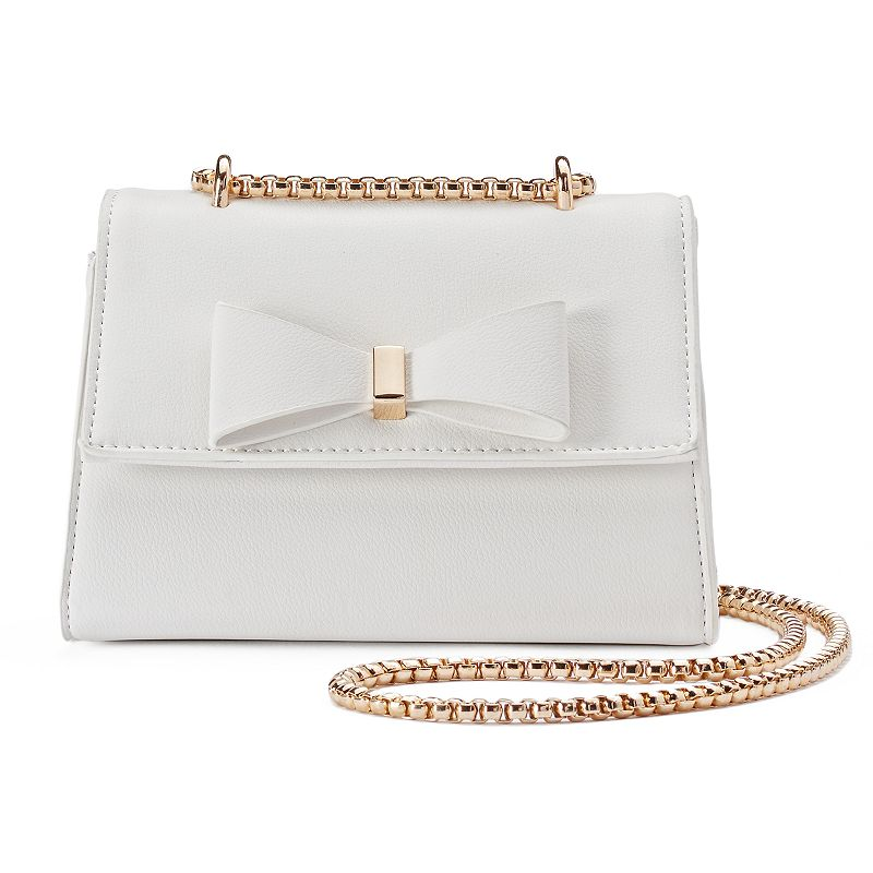 Kiss Me Couture Bow Chain Crossbody Bag, Women's, White