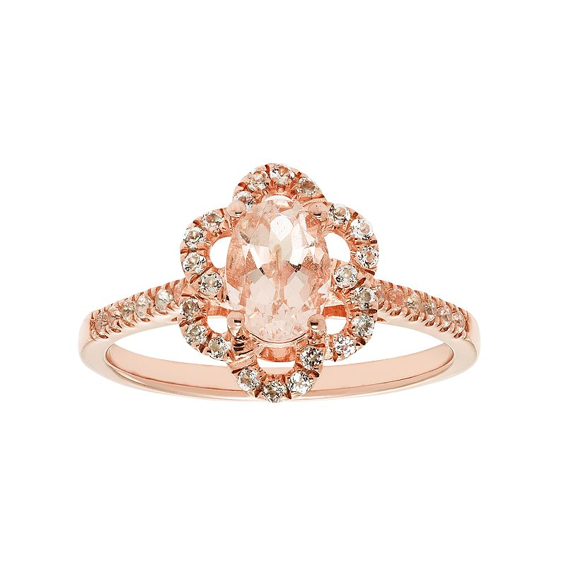 14k Rose Gold Over Silver Morganite & White Zircon Flower Ring