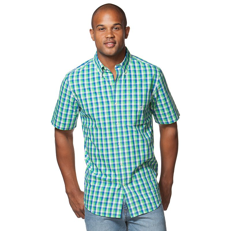 Men's Chaps Classic-Fit Gingham-Plaid Button-Down Shirt