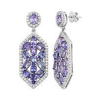 Sterling Silver Tanzanite & White Zircon Hexagon Drop Earrings