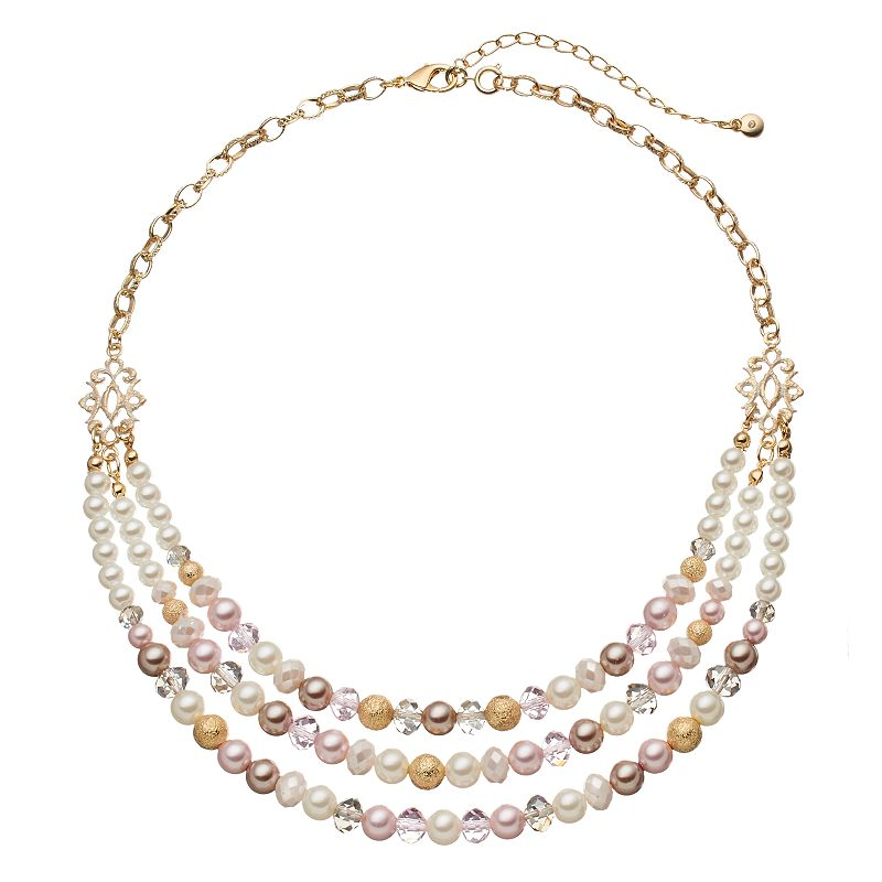 Croft & Barrow® Bead & Simulated Pearl Swag Necklace