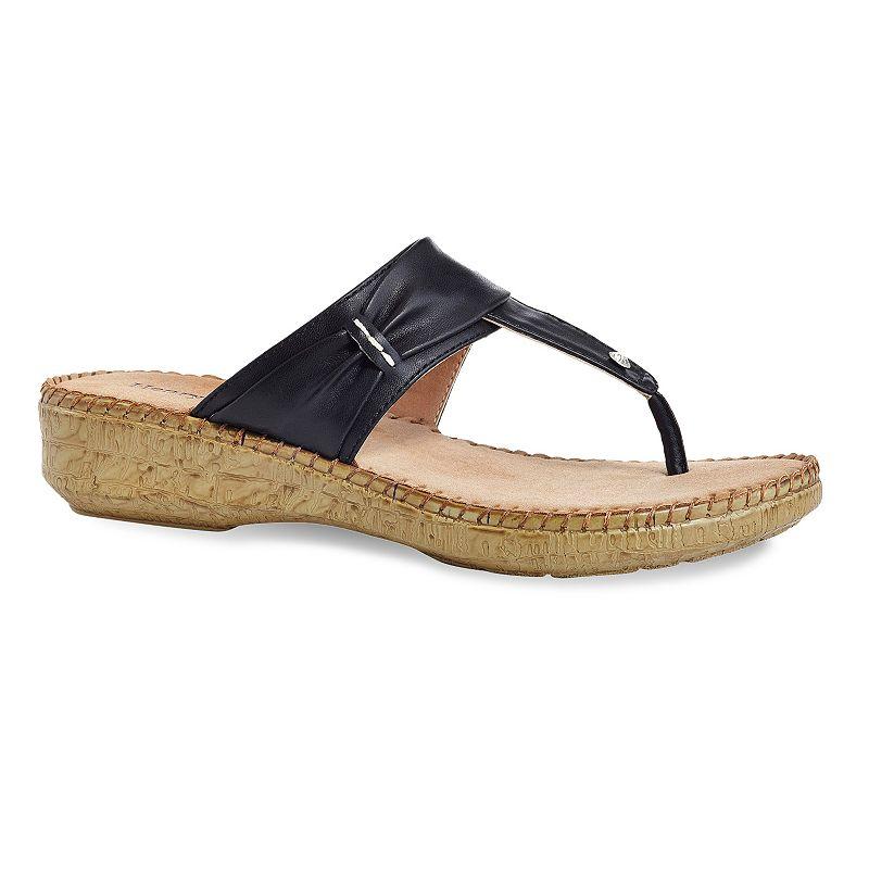 Henry Ferrera Comfort Women's Thong Wedge Sandals