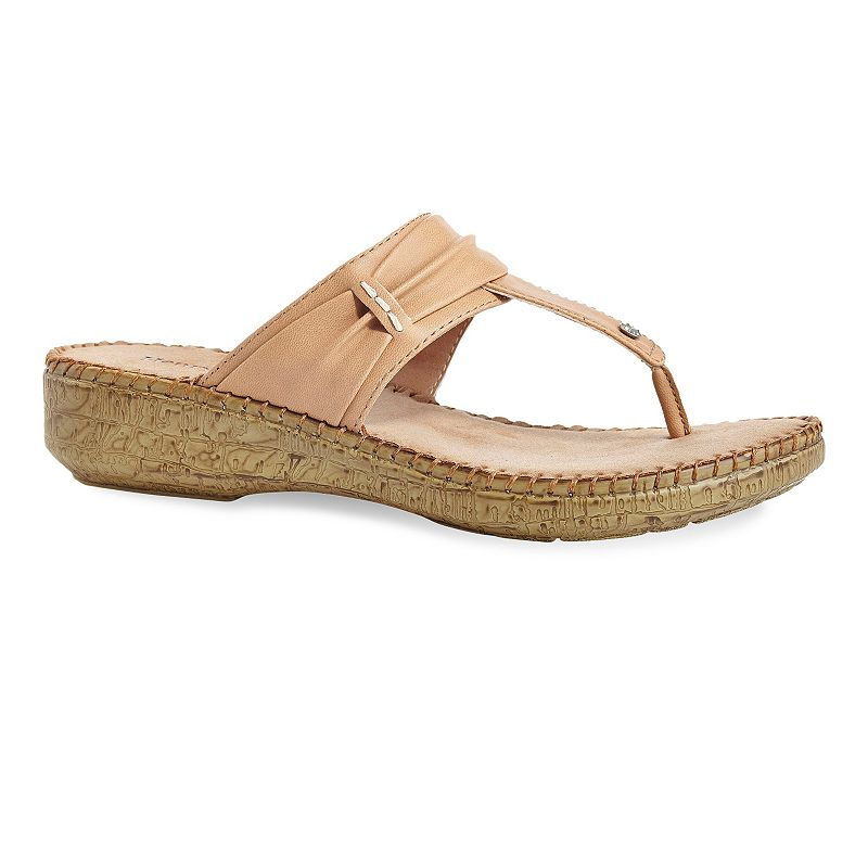 Henry Ferrera Comfort Women's Thong Wedge Sandals