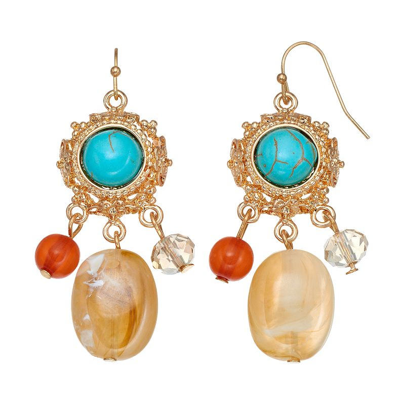 Simulated Turquoise Cabochon Beaded Drop Earrings