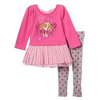 Baby Girl Paw Patrol Skye, Everest & Marshall Glitter Skirt Top & Polka-Dot Leggings Set
