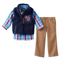 Baby Boy Little Rebels Vest, Plaid Shirt & Twill Pants Set