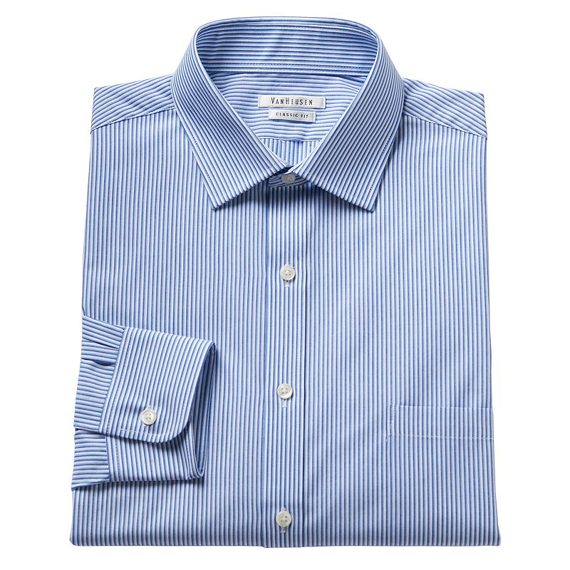 Men's Van Heusen Classic-Fit Plaid Wrinkle-Resistant Spread-Collar Dress Shirt