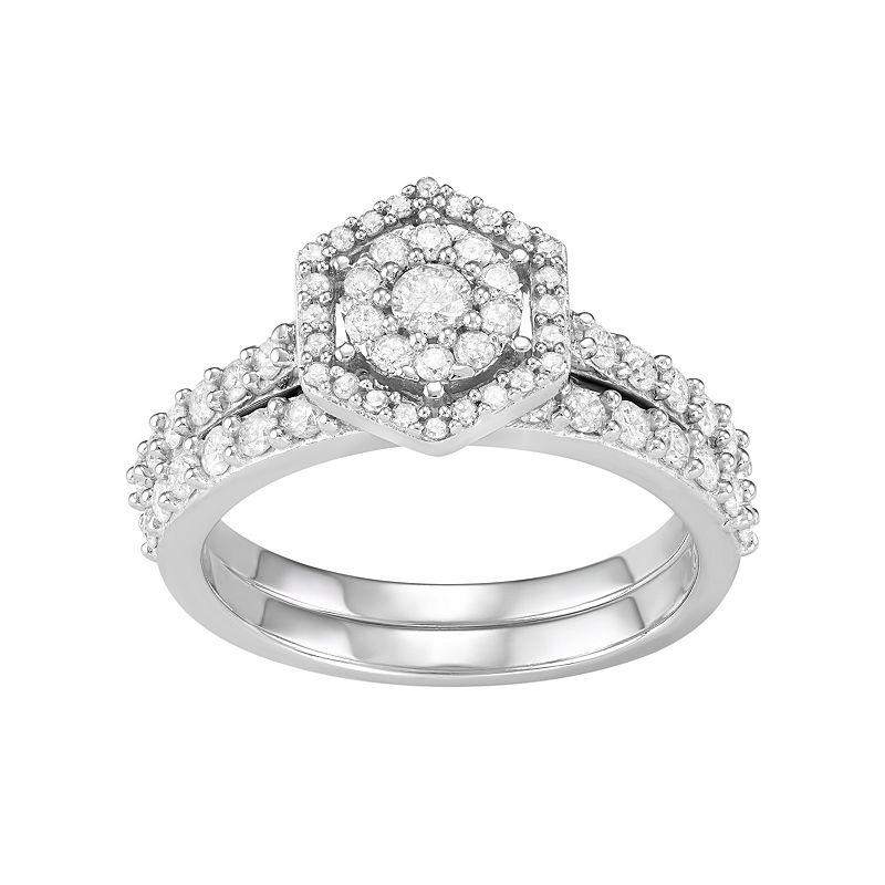 10k White Gold 1 Carat T.W. Diamond Tiered Halo Engagement Ring Set