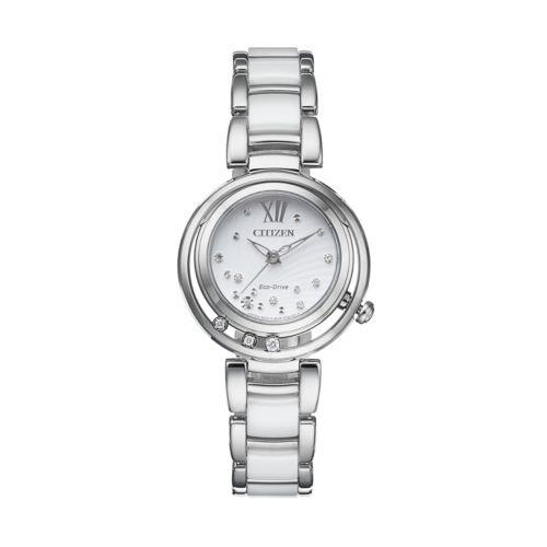 Citizen Eco-Drive Women's L Sunrise Diamond Stainless Steel & Ceramic Watch - EM0320-83A