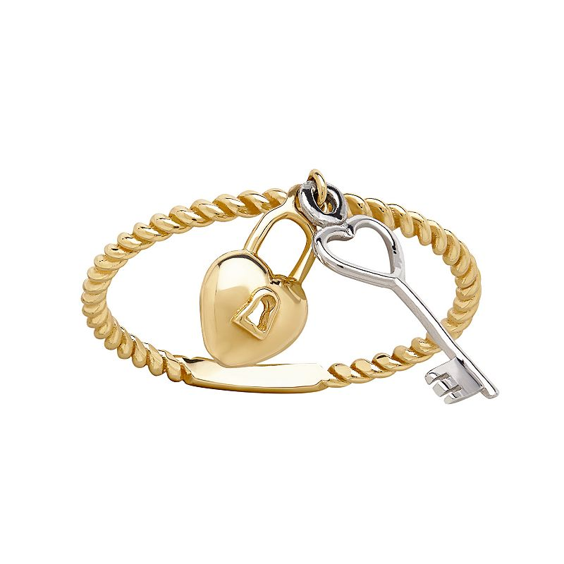 Everlasting Gold 10k Gold Lock & Key Charm Ring