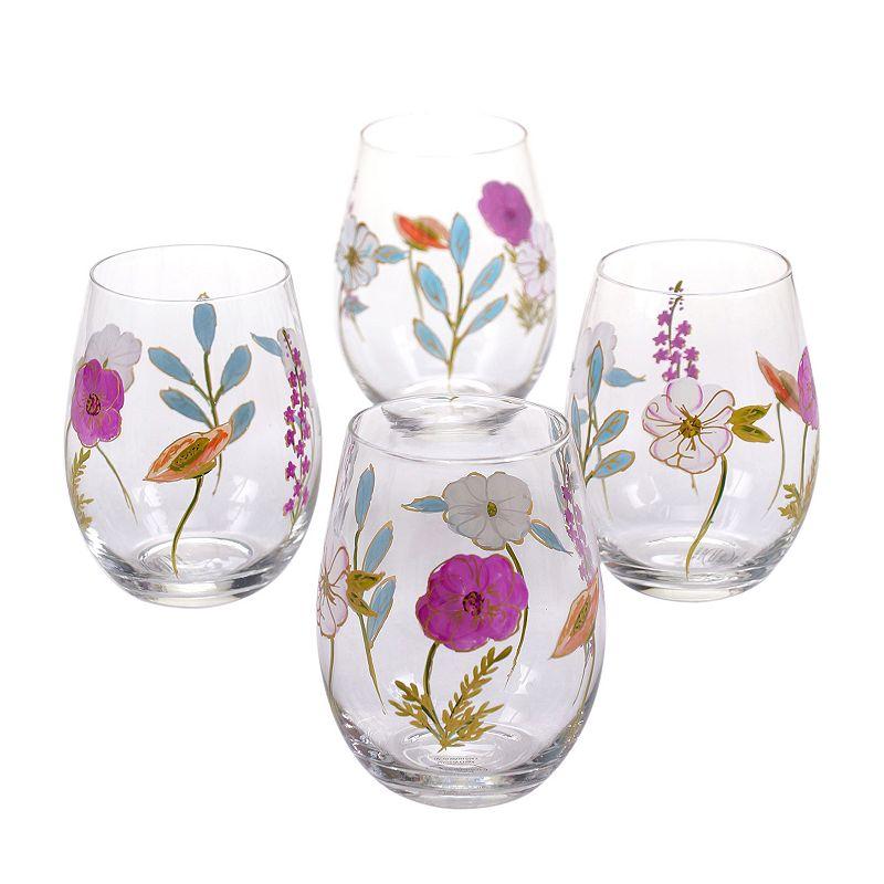 Certified International Rainbow Seeds 4-pc. Hand Painted Stemless Wine Glass Set