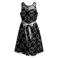 Girls 7-16 Emily West Glitter Printed Illusion Occasion Dress