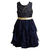 Girls 7-16 Emily West Navy Crocheted Lace Waterfall Dress