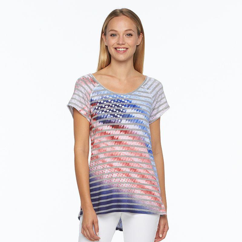 Women's World Unity Striped American Flag Tee