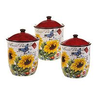 Certified International Sunflower Meadow 3-pc. Ceramic Canister Set