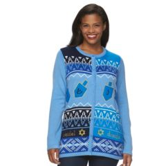 Plus Size US Sweaters Hanukkah Graphic Cardigan