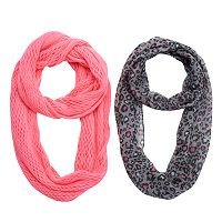 Girls 4-16 2-pk. Cheetah Print & Solid Knit Infinity Scarves