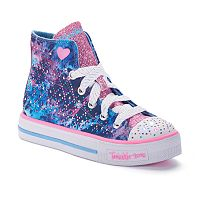 Skechers Twinkle Toes Studded Steps Girls' Light-Up High-Top Sneakers