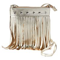 Girls 4-16 Capelli Fringe & Heart Crossbody Bag