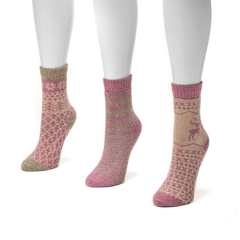 MUK LUKS 3-pk. Women's Holiday Crew Socks