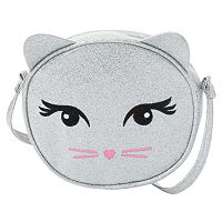 Girls 4-16 Capelli Glitter Kitten Face Crossbody Bag