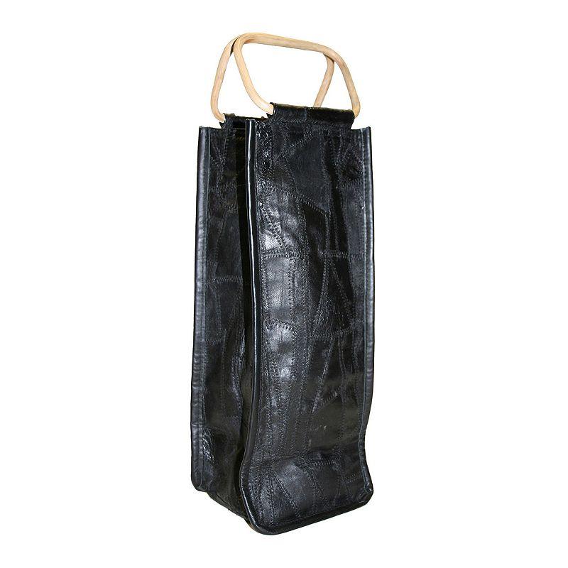 Park B. Smith Leather Collage Single Bottle Wine Bag