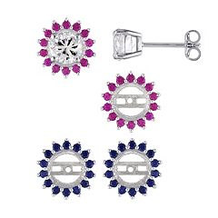 Sterling Silver Gemstone Interchangeable Halo Stud Earring Set by