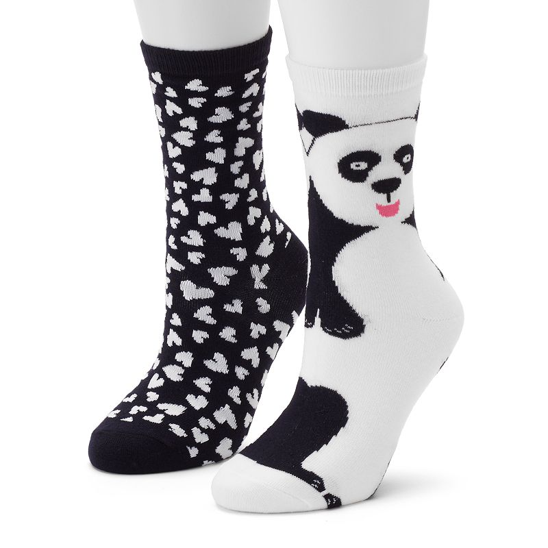Women's 2-pk. Panda & Hearts Crew Socks