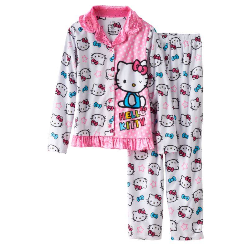 Girls 4-10 Hello Kitty Polka Dot & Star Pajama Set, Girl's, Size: 10, White