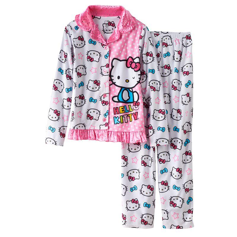 Girls 4-10 Hello Kitty Polka Dot & Star Pajama Set, Girl's, Size: 10, White
