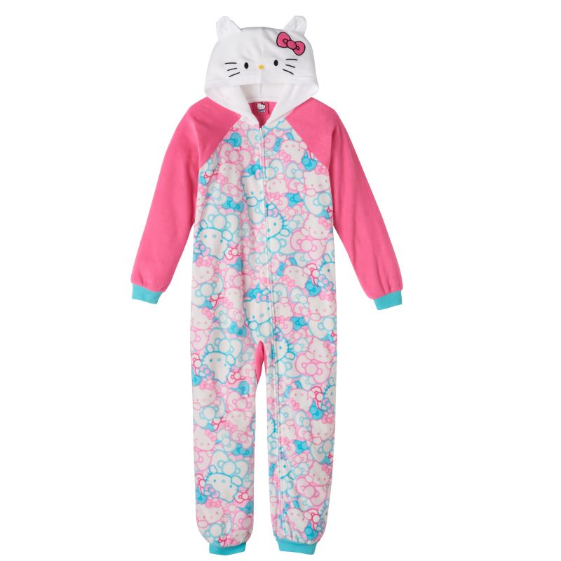 Girls 4-10 Hello Kitty Hooded One-Piece Pajamas, Girl's, Size: 4, Light Pink