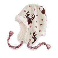 Women's MUK LUKS Deer Floral Knit Trapper Hat