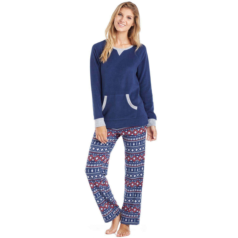 Womens Cuddl Duds Pajamas: Frosty Fun Crewneck 2-Piece Pajama Set