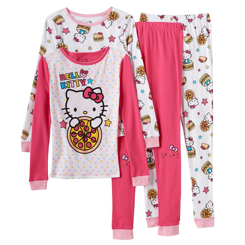 Girls 4-10 Hello Kitty 4-pc. Pizza Pajama Set, Girl's, Size: 10, Ovrfl Oth